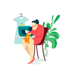 Woman character sew person hobsitting sewing vector