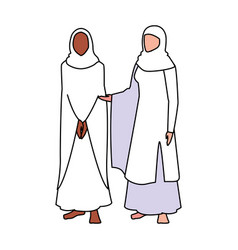 Women pilgrim hajj standing on white background vector