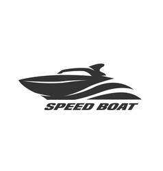 speed boat monochrome logo vector image vector image