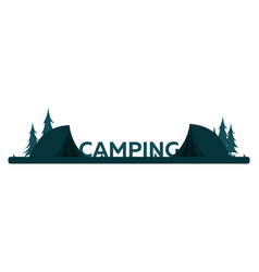 summer camp evening camp pine forest and rocky vector image vector image