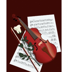 violin rose and sheets vector image