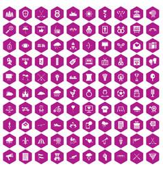 100 arrow icons hexagon violet vector image
