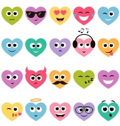 colorful hearts with smiley faces vector image vector image
