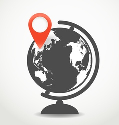 Globe with the point of destination vector image