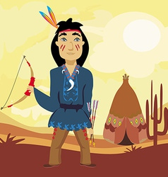 Indian holding a bow and arrows vector image