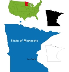 Minnesota map vector image vector image