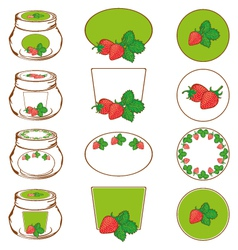 set of labels for strawberry vector image