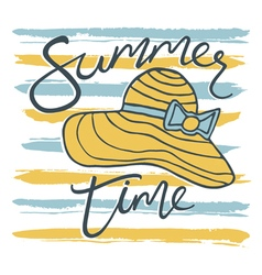 summer time card with hat and stripes vector image