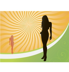 sunset girl vector image vector image