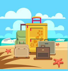 travel concept background with passenger luggage vector image