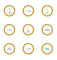 yacht icons set cartoon style vector image