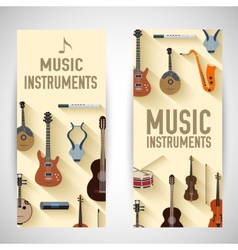 flat music instruments banners concept desig vector image vector image