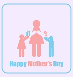 Happy Mothers Day Mom and Children Stick Figure vector image vector image