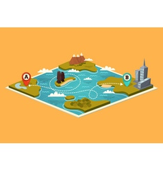 Map with map pointers vector image vector image