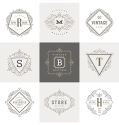 Set of Monogram flourishes logo vector image vector image