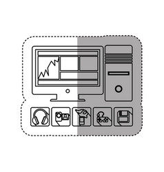 sticker silhouette desktop computer with icon apps vector image