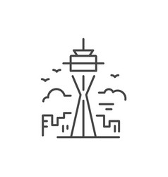 tower line icon vector image vector image