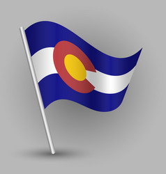 waving triangle american state flag colorado vector image vector image