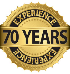 70 years experience golden label with ribbon vector image vector image