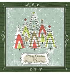 grunge background with forest of christmas trees vector image