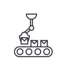 robotic line line icon sign vector image