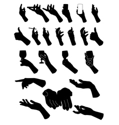 Set of silouette hands Hand holding objects vector image
