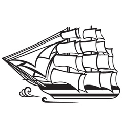 Vintage wooden tall ship vector image