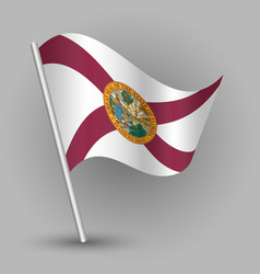 waving triangle american state flag florida vector image vector image