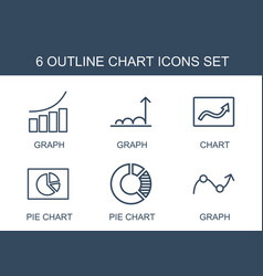 6 chart icons vector