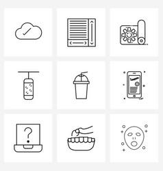 9 interface line icon set modern symbols vector