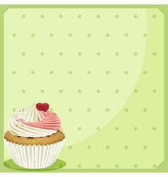 A cupcake in a green wallpaper vector image