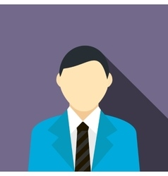 A man in a blue suit icon flat style vector