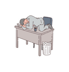 A tired man is an office worker or businessman vector