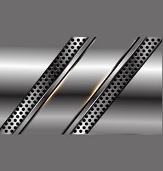 Abstract silver black line slash on circle mesh vector