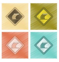 Assembly flat shading style icon tsunami sign vector