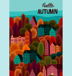 autumn design with autumn city template vector image