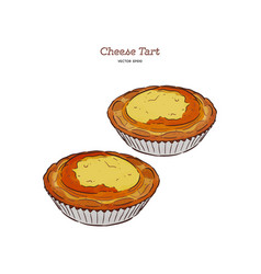 Baked cheese tart hand draw sketch vector