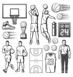 Basketball game players and equipment vector