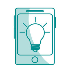 Blue silhouette shading of smartphone device with vector