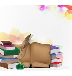 Books and feather on floral background vector