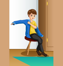 Boy wearing clothes vector