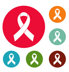 breast cancer awareness red ribbon icons circle vector image