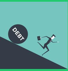 Businessman runs away from big debt vector