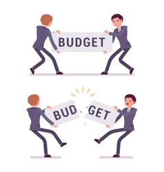Businessmen are pulling and tearing a word budget vector