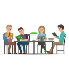 Cartoon people at table read books library room vector