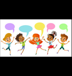 children are jumping ob speaking bunner cartoon vector image