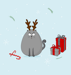 christmas cat with horn and presents vector image