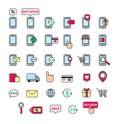 collection of line icons mobile shopping mobile vector image