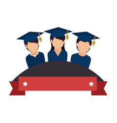 colorful emblem with ribbon and students graduates vector image