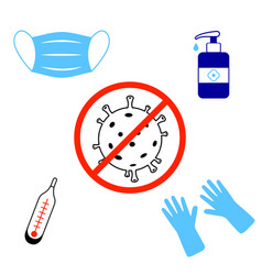 Coronavirus caution icon symbols precautions vector